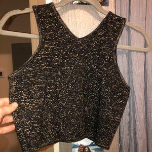 Black sparkly crop top